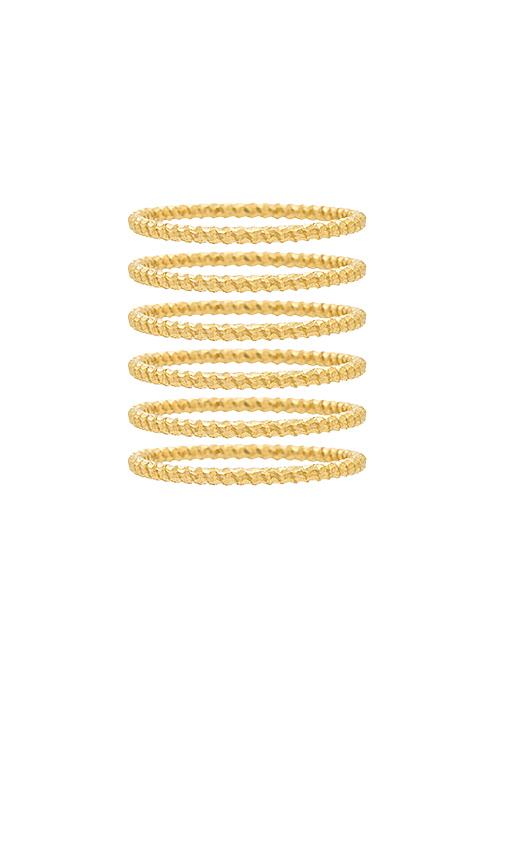 Frasier Sterling So Much Love Ring Set in Metallic Gold.