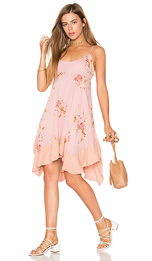 Free People Faded Bloom Mini Dress in Pink