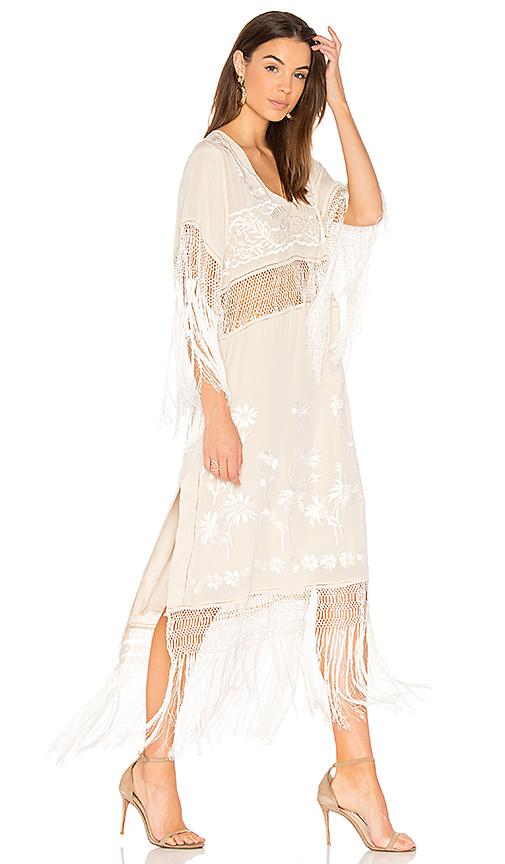 Free People Ella Fringe Dress in White
