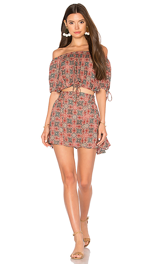 Free People Electric Love Printed Set in Red