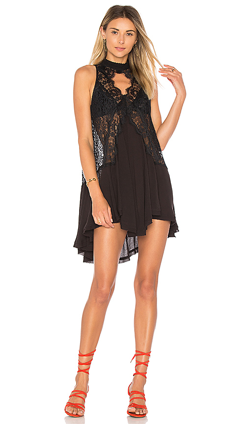 Free People Tell Tale Heart Sleeveless Tunic in Black