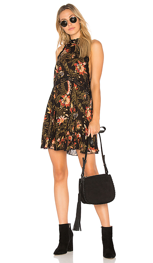 Free People Printed She Moves Mini Dress in Black