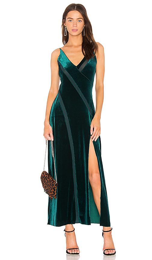 Free People Spliced Velvet Maxi Dress in Green