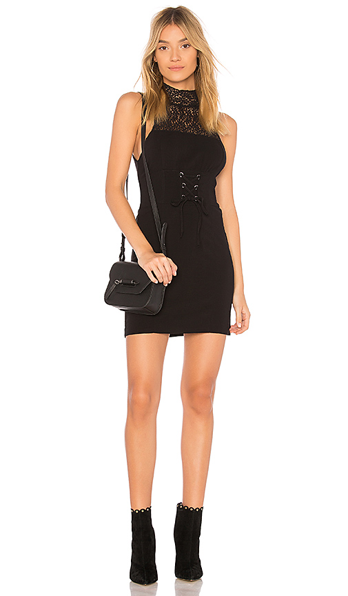 Free People High Society Bodycon Dress in Black