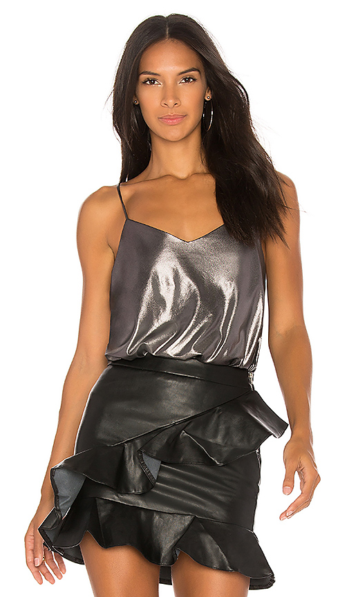 Free People Foil Babes Bodysuit in Metallic Silver