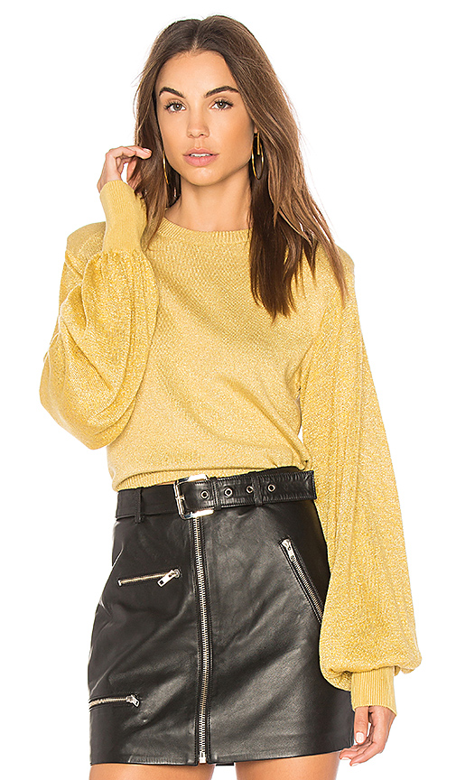 Free People Let It Shine Pullover Sweater in Yellow. - size XS (also in L,M,S)