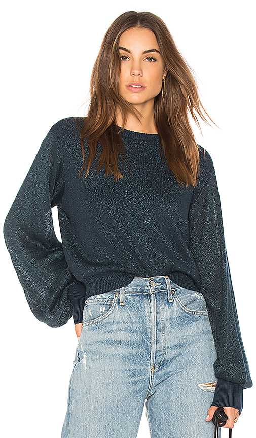 Free People Let It Shine Pullover Sweater in Blue. - size XS (also in L,M,S)