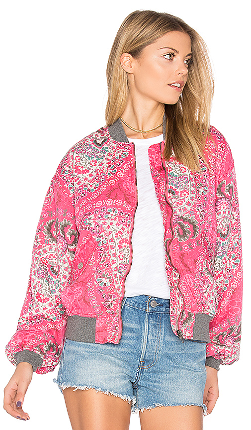 Free People Printed Bomber in Pink. - size L (also in S,XS)