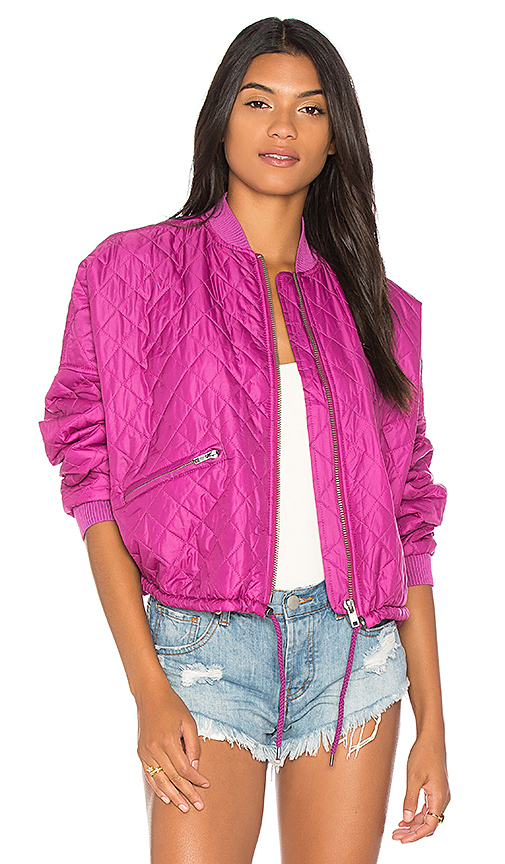 Free People Easy Quilted Bomber in Pink