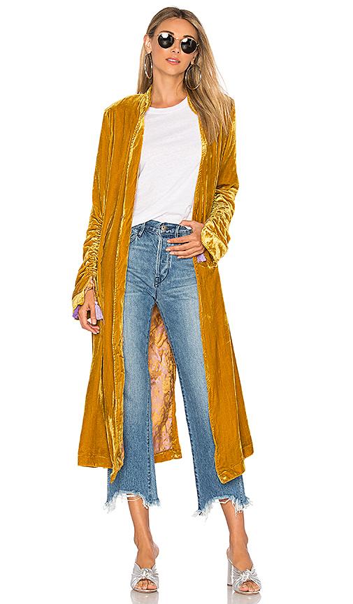 Free People Dhalia Velvet Duster Coat in Mustard