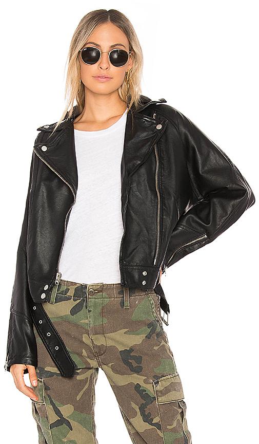 Free People Drapey Vegan Moto Jacket in Black