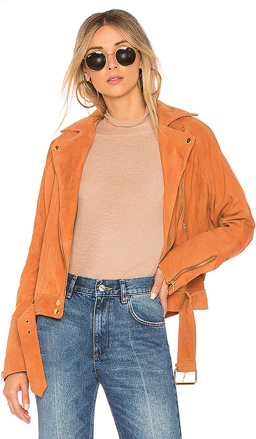 Free People Drapey Suede Moto in Brown