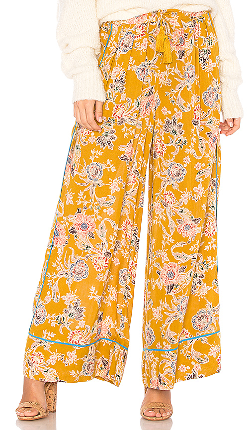Free People Bali Wildflower Pant in Mustard. - size M (also in XS,S,L)