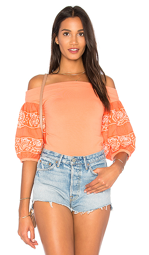 Free People Rock With It Top in Coral