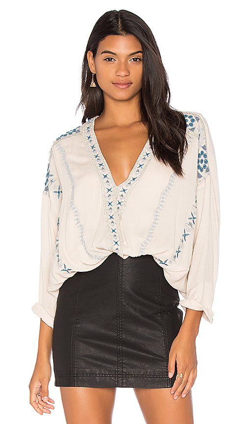 Free People Crescent Moon Embroidered Blouse in White