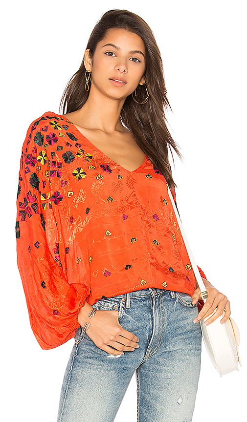 Free People Music in Time Top in Red