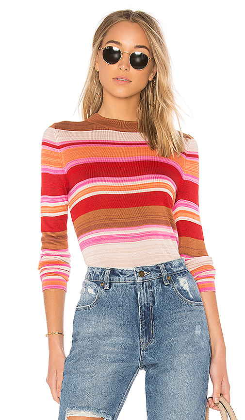Free People Show Off Your Stripes Tee in Red. - size L (also in M,S,XS)