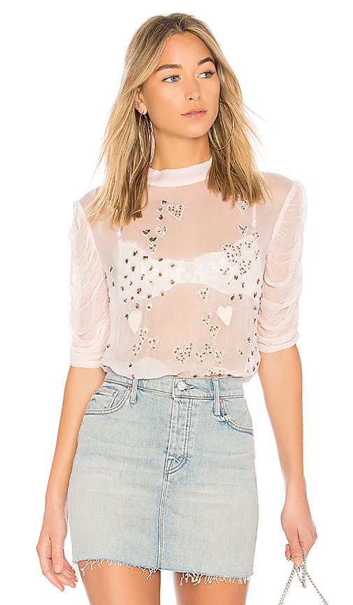 Free People So In Love Embroidered Blouse in Pink. - size L (also in XS,S,M)