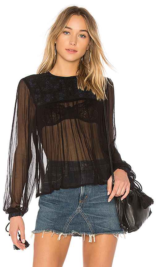 Free People Retro Femme Blouse in Black