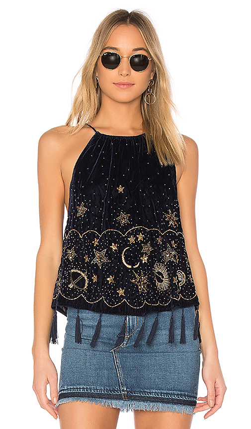 Free People Midnight Magic Embellished Tank in Navy