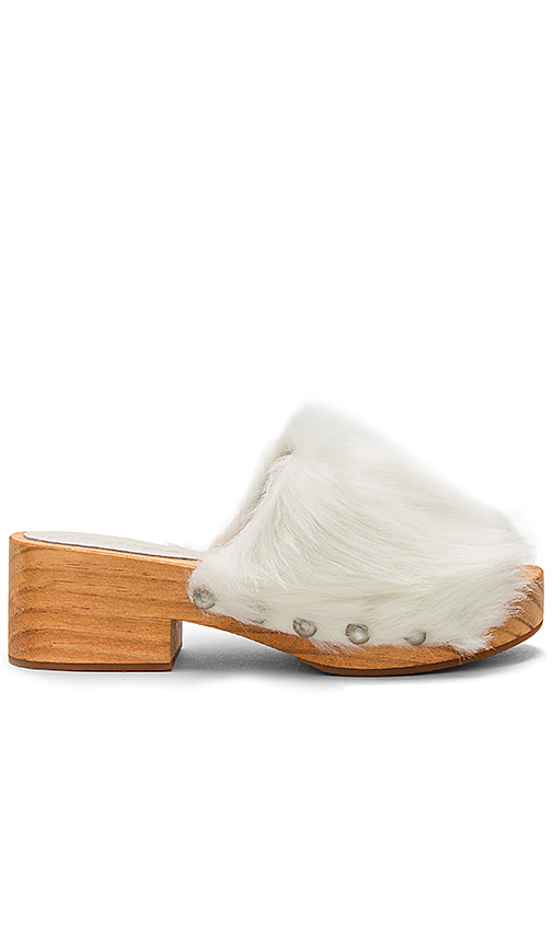 Free People Faux Fur Sonnet Clog in Ivory