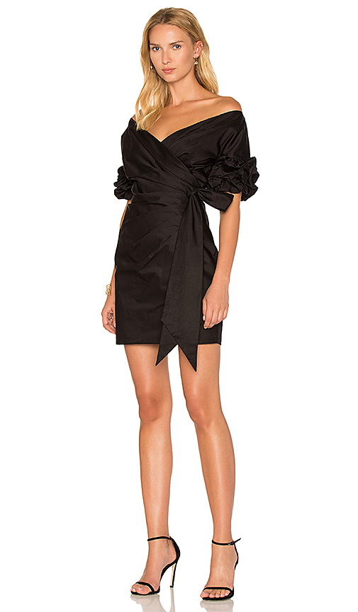FAME AND PARTNERS x REVOLVE Issa Wrap Dress in Black. - size 0 (also in 2,4,6,8)