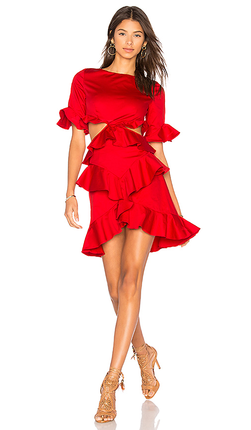FAME AND PARTNERS x REVOLVE Xavier Ruffle Dress in Red