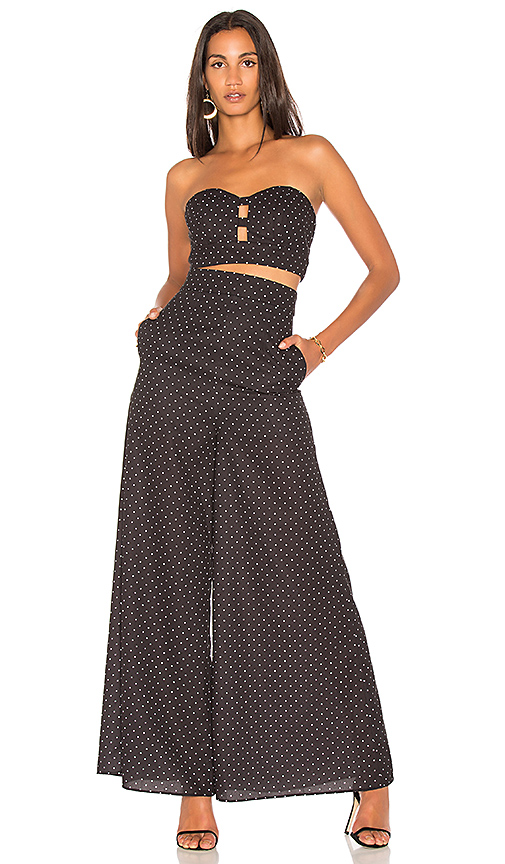 FAME AND PARTNERS x Revolve Strapless Jumpsuit in Black