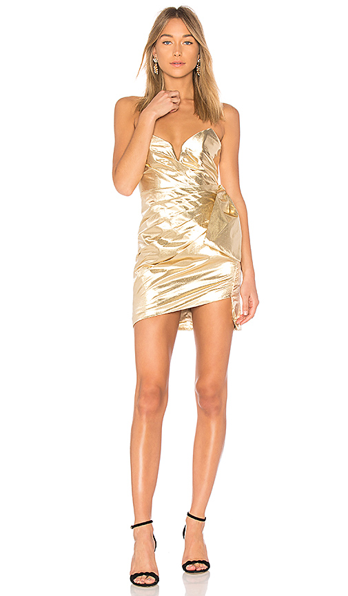 FAME AND PARTNERS X REVOLVE Collins Dress in Metallic Gold