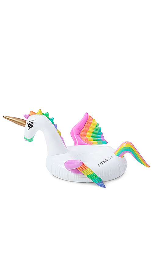 FUNBOY Rainbow Unicorn Inflatable Drink Holder in White