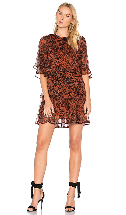 Ganni Beaumont Dress in Rust