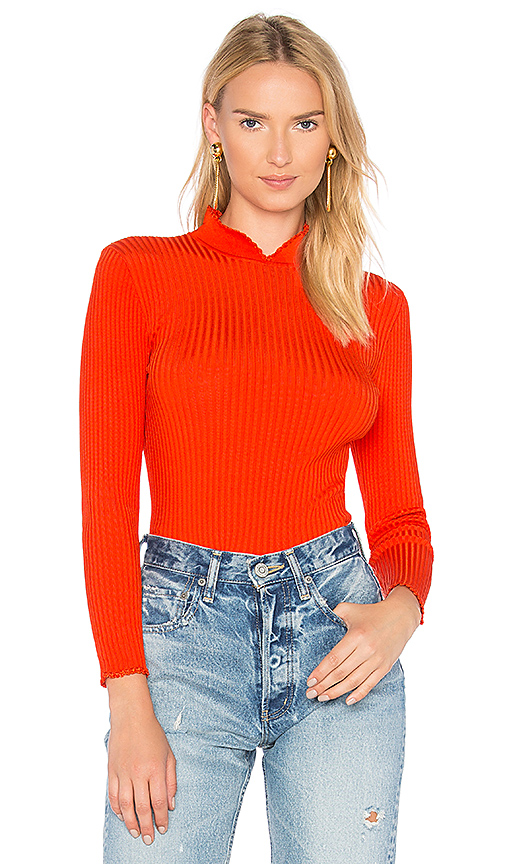 Ganni Romilly Long Sleeve Top in Red