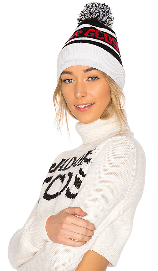 GCDS Knitted Beanie in Black & White