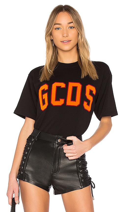 GCDS Logo Flock Tee in Black