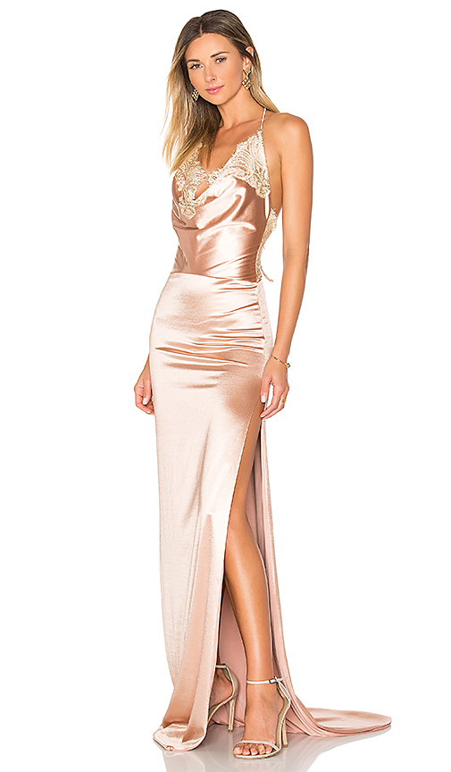 Gemeli Power Charlot Gown in Metallic Copper