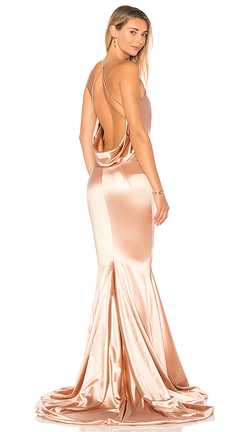 Gemeli Power Satin Barthelemy Gown in Rose