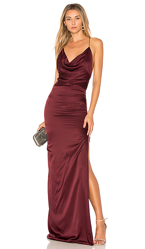 Gemeli Power Silk D Dupey Gown in Burgundy