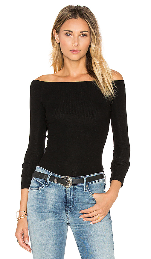 GETTINGBACKTOSQUAREONE Off The Shoulder Long Sleeve Top in Black