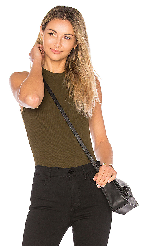 GETTINGBACKTOSQUAREONE The Sleeveless Bodysuit in Olive