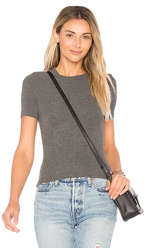 GETTINGBACKTOSQUAREONE The Short Sleeve Crop Crew in Charcoal