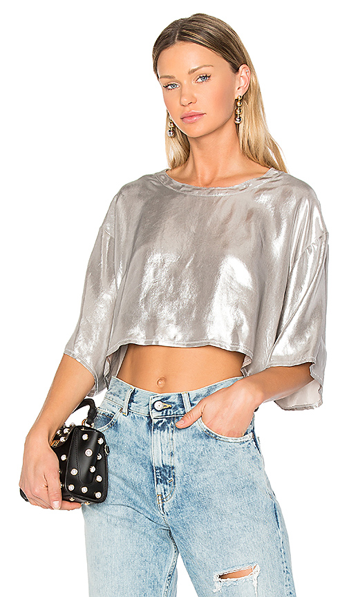 Golden Goose Cropped T-Shirt in Metallic Silver