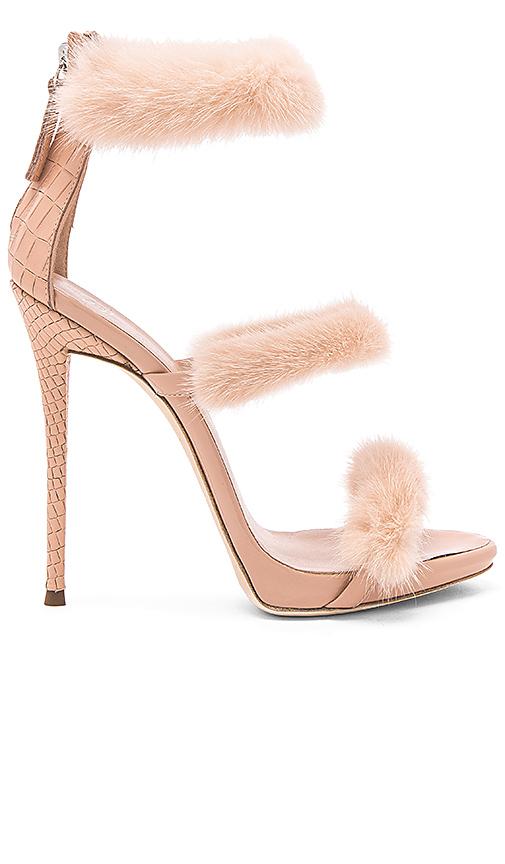 Giuseppe Zanotti Coline Mink Fur Heel in Blush