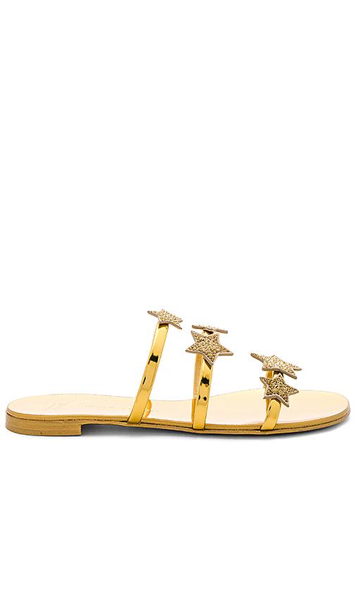 Giuseppe Zanotti Nuvoroll Star Sandal in Metallic Gold
