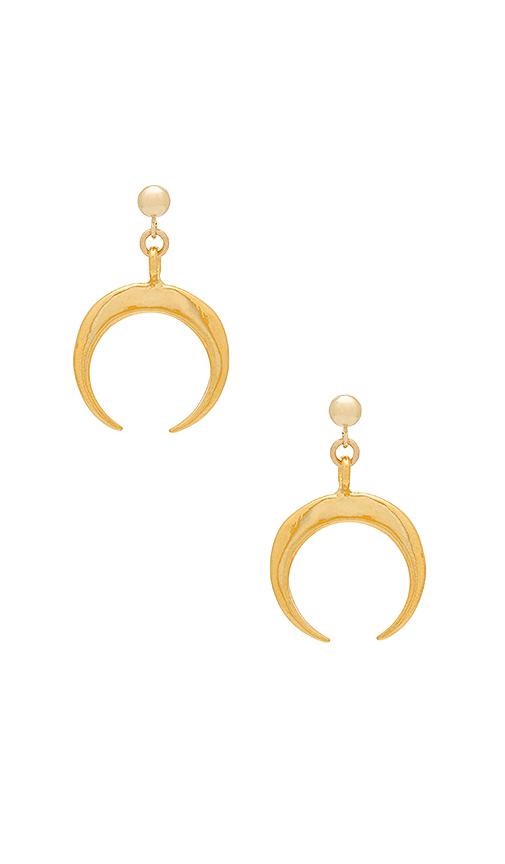EIGHT by GJENMI JEWELRY Horn Earrings in Metallic Gold.