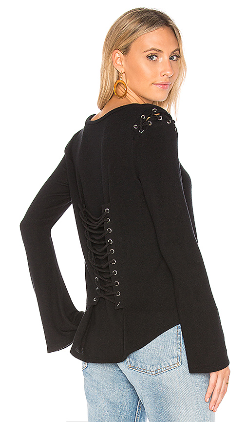 Generation Love Casey Lace Up Top in Black