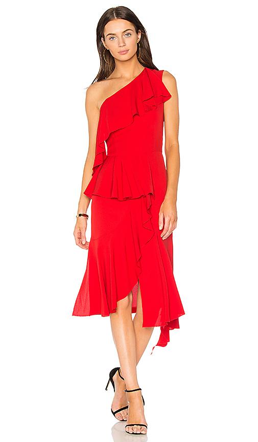 GOENJ One Shoulder Asymmetrical Dress in Red
