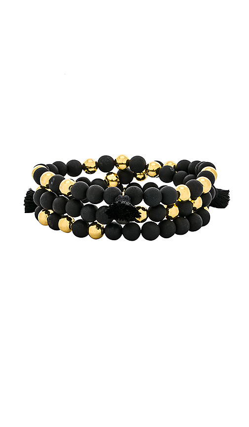 gorjana Hannah Druzy Tassel Wrap Bracelet in Black