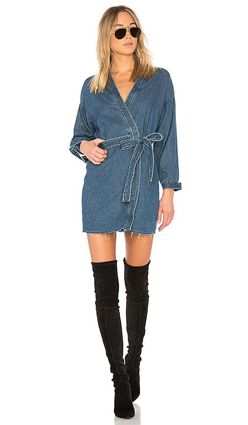 GRLFRND Kate Robe Mini Dress in Denim Dark