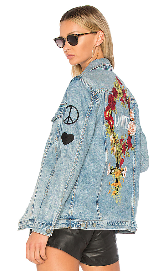 Shop GRLFRND x REVOLVE Daria Oversized Denim Trucker Jacket online jackets
