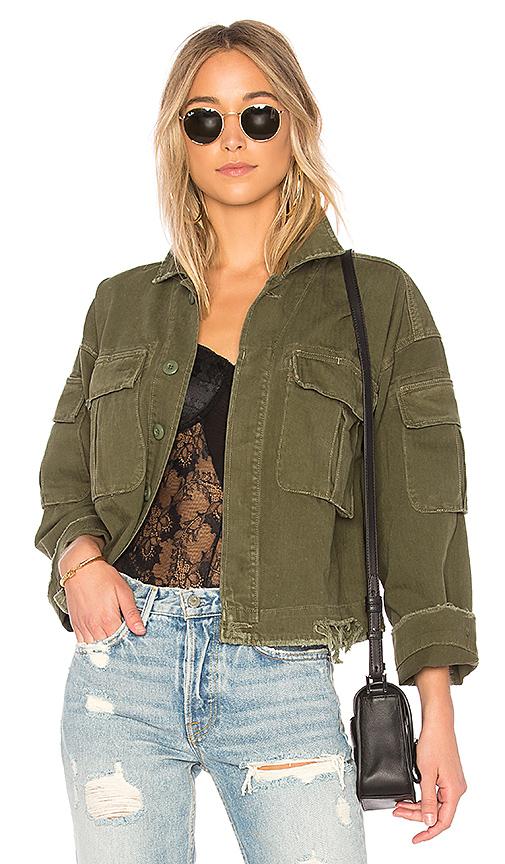 GRLFRND Dorian Oversized Crop Army Jacket in Olive